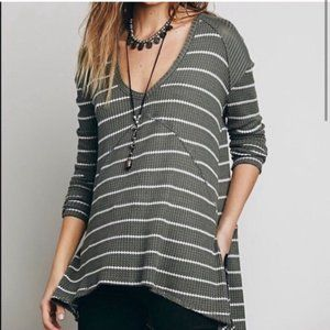 Free People Green Striped Sunset Park Thermal Top